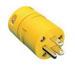 Woodhead / Molex 1547 Super-Safeway® Polarized Straight Blade Male Connector; 15 Amp, 125 Volt AC, 2-Pole, 3-Wire, NEMA 5-15, Yellow