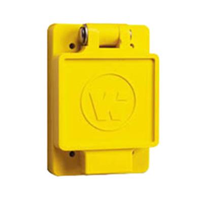 Woodhead / Molex 67W47 Watertite® Single Flip Lid Female Receptacle with FS Coverplate; 125 Volt, 20 Amp, 2-Pole, 3-Wire, NEMA L5-20R, Yellow