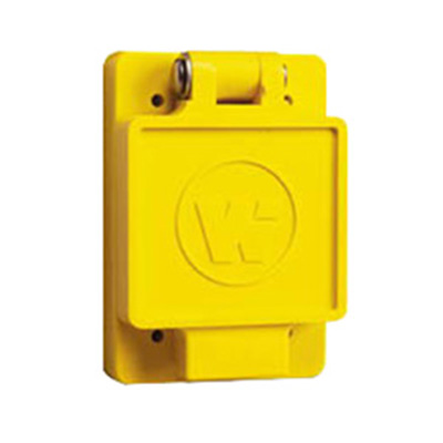 Woodhead / Molex 69W76 Watertite® Single Flip Lid Female Receptacle with Locking Blade & Coverplate; 480 Volt, 30 Amp, 3-Pole, 4-Wire, NEMA L16-30R, Yellow