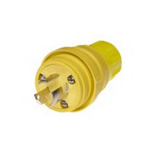 Woodhead / Molex 24W07 Watertite® Polarized Non-Grounding Locking Male Plug with Locking Blade; 15/10 Amp, 125/250 Volt, 3-Pole, 3-Wire, Yellow