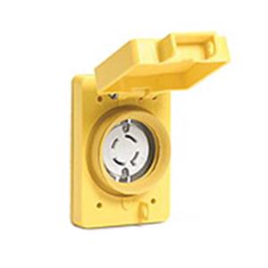Woodhead / Molex 67W75 Watertite® Single Flip Lid Female Receptacle; 250 Volt, 20 Amp, 3-Pole, 4-Wire, NEMA L15-20R, Yellow