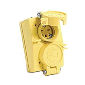Woodhead / Molex 60W33DPLX Watertite® Female Duplex Receptacle with Flip Double Coverplate; 20 Amp, 125 Volt, 3-Wire, NEMA 5-20