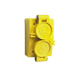 Woodhead / Molex 60W47DPLX Watertite® FD Isolated Ground Duplex Flip Lid Female Receptacle with Coverplate; 125 Volt, 15 Amp, 2-Pole, 3-Wire, NEMA 5-15R, Yellow