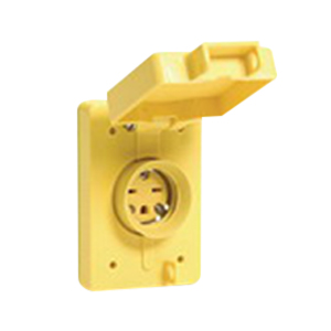 Woodhead / Molex 65W34 Watertite® Single Flip Lid Female Locking Blade Receptacle with Coverplate; 277 Volt, 15 Amp, 2-Pole, 3-Wire, NEMA L7-15R, Yellow