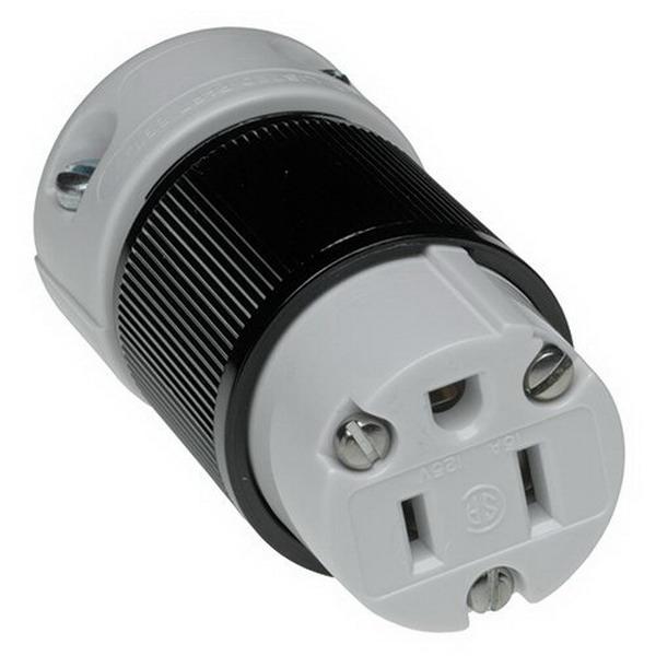 Woodhead / Molex 5269 Super-Safeway® Straight Blade Female Connector; 15 Amp, 125 Volt AC, 2-Pole, 3-Wire, NEMA 5-15, Black/Gray