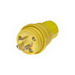 Woodhead / Molex 24W47 Watertite® Grounding Locking Male Plug with Locking Blade; 15 Amp, 125 Volt, 2-Pole, 3-Wire, NEMA L5-15, Yellow