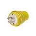 Woodhead / Molex 28W74 Watertite® Locking Male Plug with Locking Blade; 30 Amp, 125/250 Volt, 3-Pole, 4-Wire, NEMA L14-30P, Yellow