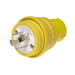 Woodhead / Molex 26W75 Watertite® Polarized Grounding Locking Male Plug with Locking Blade; 20 Amp, 250 Volt, 3-Pole, 4-Wire, NEMA L15-20P, Yellow