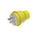Woodhead / Molex 28W76 Watertite® Grounding Twist Locking Male Plug with Locking Blade; 30 Amp, 480 Volt, 3-Pole, 4-Wire, NEMA L16-30, Yellow