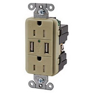 Hubbell Wiring USB20X2 Tamper-Resistant Decorator Specification Grade Standard Size USB Charger Duplex Receptacle; Screw Mount, 125 Volt AC/5 Volt DC, 20 Amp, 2-Pole, 3-Wire, NEMA 5-20R, Brown