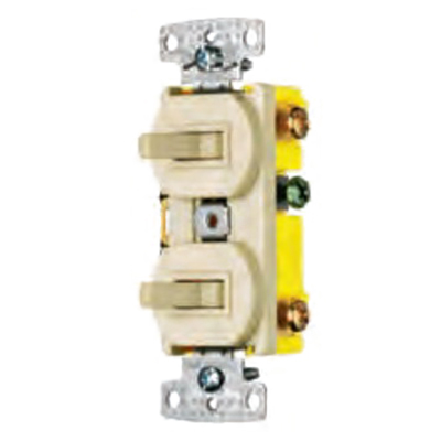 Hubbell Wiring RC101W tradeSelect® Homeselect™ Two Stacked Combination Toggle Switch; 120 Volt AC, 15 Amp, 1-Pole, Self Grounding, White