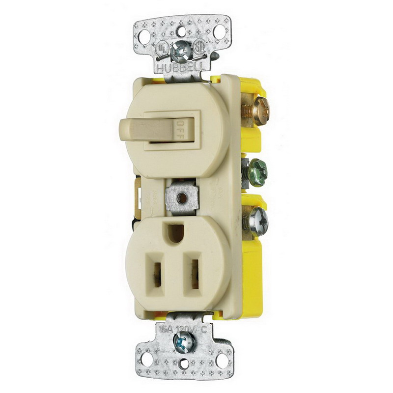 Hubbell Wiring RC108I tradeSelect® Homeselect™ Stacked Combination Toggle Switch; 120 Volt AC Switch, 125 Volt AC Receptacle, 15 Amp, 2-Pole, Self Grounding, Ivory