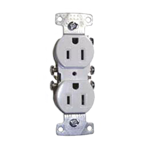 Hubbell Wiring RR15W tradeSelect® Homeselect® Residential Standard Size Straight Blade Traditional Duplex Receptacle; Screw Mount, 125 Volt, 15 Amp, 2-Pole, 3-Wire, NEMA 5-15R, White