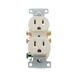 Hubbell Wiring RR15LA tradeSelect® Homeselect® Standard Size Straight Blade Traditional Duplex Receptacle; Screw Mount, 125 Volt, 15 Amp, 2-Pole, 3-Wire, NEMA 5-15R, Light Almond