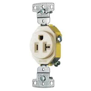 Hubbell Wiring RR201LA tradeSelect® Homeselect® Standard Size Straight Blade Single Receptacle; Screw Mount, 125 Volt, 20 Amp, 2-Pole, 3-Wire, NEMA 5-20R, Light Almond