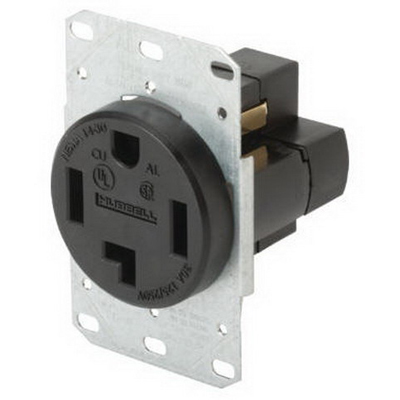 Hubbell Wiring RR430F tradeSelect® Standard Size Straight Blade Range and Dryer Power Receptacle; Flush Mount, 125/250 Volt, 30 Amp, 3-Pole, 4-Wire, NEMA 14-30R, Black