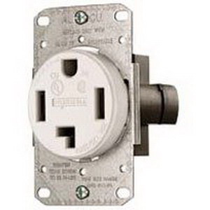 Hubbell Wiring RR430FW tradeSelect® Standard Size Straight Blade Power Receptacle; Flush Mount, 125/250 Volt, 30 Amp, 3-Pole, 4-Wire, NEMA 14-30R, White