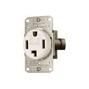 Hubbell Wiring RR450FW tradeSelect® Standard Size Straight Blade Power Receptacle; Flush Mount, 125/250 Volt, 50 Amp, 3-Pole, 4-Wire, NEMA 14-50R, White