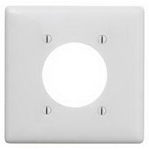 Hubbell Wiring NP703W Standard Size 2 Gang Single Receptacle Plate; Screw Mount, Nylon, White