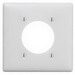 Hubbell Wiring NP703W Standard Size 2-Gang Single Receptacle Plate; Screw Mount, Nylon, White
