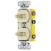 Hubbell Wiring RC103I tradeSelect® Homeselect™ 3-Way Stacked Combination Toggle Switch; 120 Volt AC, 15 Amp, 1-Pole, Self Grounding, Ivory