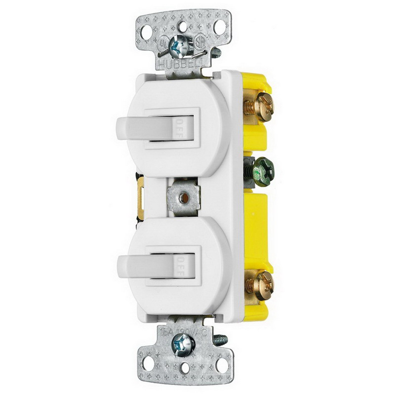 Hubbell Wiring RC303W tradeSelect® Homeselect™ 3-Way Two Combination Toggle Switch; 120 Volt AC, 15 Amp, 1-Pole, Self Grounding, White