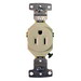 Hubbell Wiring RR151LA tradeSelect® Homeselect® Residential Standard Size Straight Blade Single Receptacle; Screw Mount, 125 Volt, 15 Amp, 2-Pole, 3-Wire, NEMA 5-15R, Light Almond