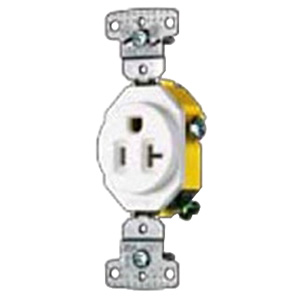 Hubbell Wiring RR201I tradeSelect® Homeselect® Residential Standard Size Straight Blade Single Receptacle; Screw Mount, 125 Volt, 20 Amp, 2-Pole, 3-Wire, NEMA 5-20R, Ivory