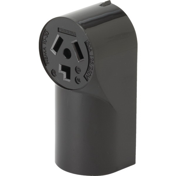 Hubbell Wiring RR330 tradeSelect&reg Standard Size Straight Blade Power Receptacle Surface Mount  125/250 Volt  30 Amp  3-Pole  3-Wire  NEMA 10-30R  Black