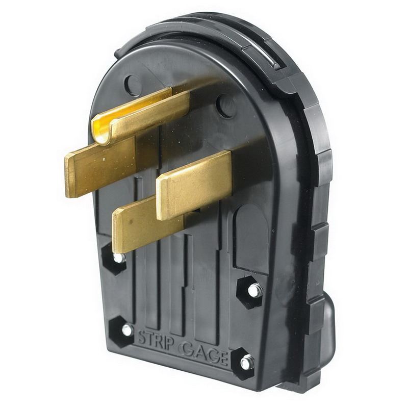 Hubbell Wiring RR435P Homeselect™ Range and Dryer Grounding Straight Blade Angle Male Plug; 30/50 Amp, 125/250 Volt, 3-Pole, 4-Wire, NEMA 14-30R, 14-50R, Black