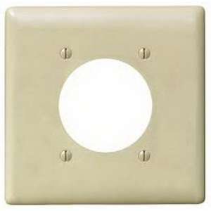 Hubbell Wiring NP703I Standard Size 2-Gang Single Receptacle Plate; Screw Mount, Nylon, Ivory