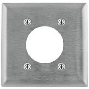 Hubbell Wiring SS703 Standard Size 2-Gang Single Receptacle Plate; Screw Mount, 302/304 Stainless Steel