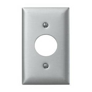Hubbell Wiring SS7 Twist-Lock® Standard Size 1-Gang Single Receptacle Plate; Screw, Wall Mount, 302/304 Stainless Steel