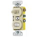 Hubbell Wiring RC109I tradeSelect® Homeselect™ 3-Way Stacked Combination Toggle Switch with Pilot Light; 120 Volt AC, 15 Amp, 1-Pole, Self Grounding, Ivory