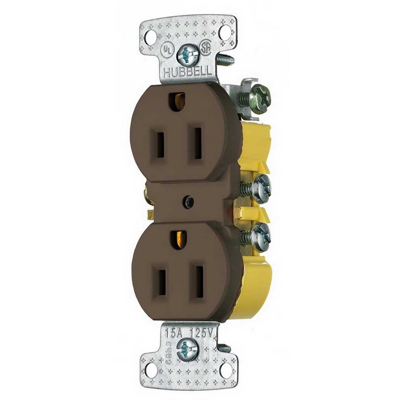 Hubbell Wiring RR15 tradeSelect® Homeselect® Residential Standard Size Straight Blade Traditional Duplex Receptacle; Screw Mount, 125 Volt, 15 Amp, 2-Pole, 3-Wire, NEMA 5-15R, Brown