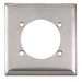 Hubbell Wiring SS701 Standard Size 2-Gang Single Receptacle Plate; Screw, Wall Mount, 302/304 Stainless Steel