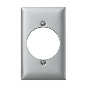 Hubbell Wiring SS723 Standard Size 1-Gang Single Receptacle Plate; Screw Mount, 302/304 Stainless Steel
