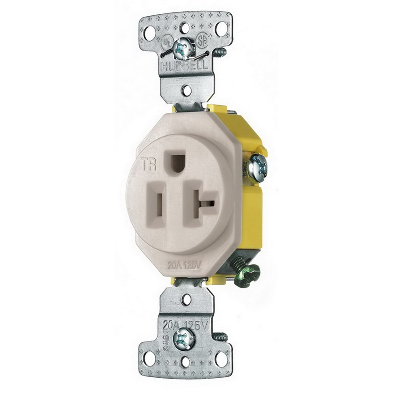 Hubbell Wiring RR201LATR tradeSelect® Residential Tamper-Resistant Standard Size Single Receptacle; Screw Mount, 125 Volt, 20 Amp, 2-Pole, 3-Wire, NEMA 5-20R, Light Almond