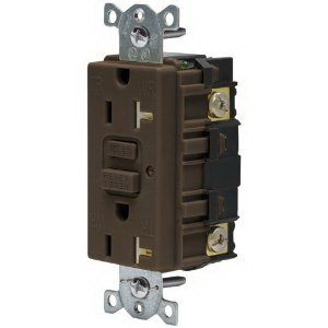 Hubbell Wiring GFTR20U Commercial Tamper-Resistant and Weather-Resistant Decorator Standard Size Duplex Straight Blade GFCI Receptacle with LED; Screw Mount, 125 Volt AC, 20 Amp, 2-Pole, 3-Wire, NEMA 5-20R, Brown
