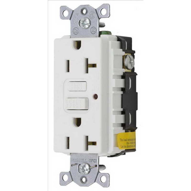 Hubbell Wiring GF20WLA Circuit Guard® Grounding Commercial Decorator Standard Size Duplex GFCI Receptacle with LED; Screw Mount, 125 Volt AC, 20 Amp, 2-Pole, 3-Wire, NEMA 5-20R, White