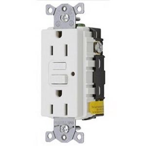 Hubbell Wiring GF15WLA Circuit Guard® Grounding Decorator Standard Size Duplex GFCI Receptacle with LED; Screw Mount, 125 Volt AC, 15 Amp, 2-Pole, 3-Wire, NEMA 5-15R, White