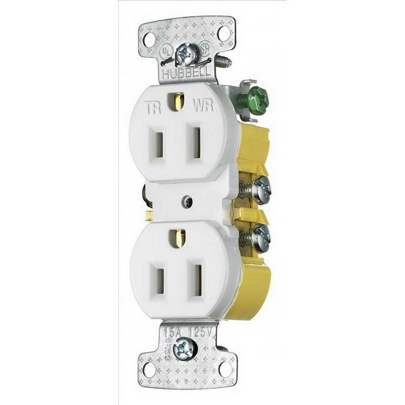 Hubbell Wiring RR15SWWRTR tradeSelect® Tamper-Resistant Weather-Resistant Standard Size Duplex Receptacle; Screw Mount, 125 Volt AC, 15 Amp, 2-Pole, 3-Wire, NEMA 5-15R, White
