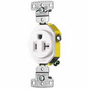 Hubbell Wiring RR201WTR HomeSelect® Tamper-Resistant Standard Single Receptacle; Screw Mount, 125 Volt AC, 20 Amp, 2-Pole, 3-Wire, NEMA 5-20R, White
