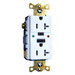 Hubbell Wiring GFTR20LA Grounding Commercial Tamper-Resistant Standard Size GFCI Receptacle with LED; Screw Mount, 125 Volt AC, 20 Amp, 2-Pole, 3-Wire, NEMA 5-20R, Light Almond