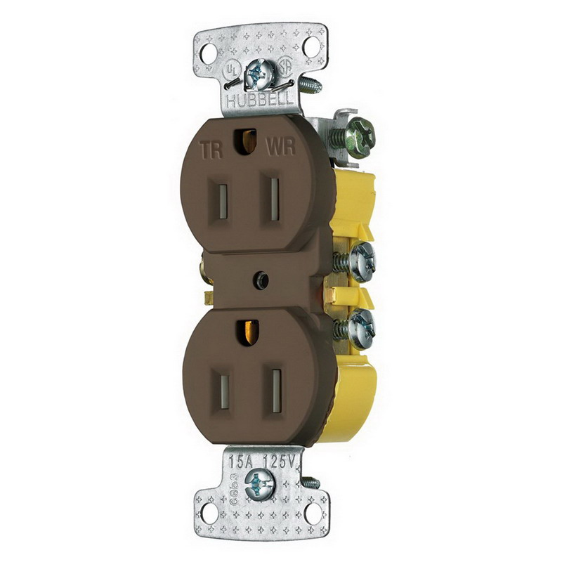 Hubbell Wiring RR15SWRTR tradeSelect® Tamper-Resistant Weather-Resistant Standard Size Duplex Receptacle; Screw Mount, 125 Volt AC, 15 Amp, 2-Pole, 3-Wire, NEMA 5-15R, Brown