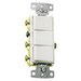 Hubbell Wiring RCD303W tradeSelect® Homeselect™ 3-Way Two Stacked Decorator Combination Quiet Rocker Switch; 120/277 Volt AC, 15 Amp, 1-Pole, Self Grounding, White