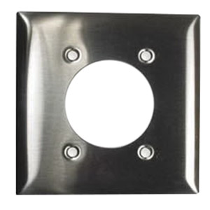 Hubbell Wiring SS703L Standard Size 2-Gang Single Receptacle Plate; Screw Mount, 430 Stainless Steel
