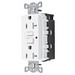 Hubbell Wiring GFTR20WU Grounding Commercial Tamper-Resistant and Weather-ResistantDecorator Standard Size Duplex Straight Blade GFCI Receptacle with LED; Screw Mount, 125 Volt AC, 20 Amp, 2-Pole, 3-Wire, NEMA 5-20R, White