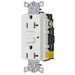 Hubbell Wiring GF20WLU Circuit Guard® Grounding Commercial Decorator Specification Grade Standard Size Duplex GFCI Receptacle with LED; Screw Mount, 125 Volt AC, 20 Amp, 2-Pole, 3-Wire, NEMA 5-20R, White