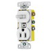 Hubbell Wiring RC108W tradeSelect® Homeselect™ Stacked Combination Toggle Switch; 120 Volt AC Switch, 125 Volt AC Receptacle, 15 Amp, 2-Pole, Self Grounding, White
